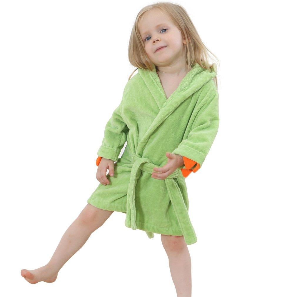 IDGIRL Toddler Bathrobe Dinosaur Hooded Cotton Towel for Kids,Green Large