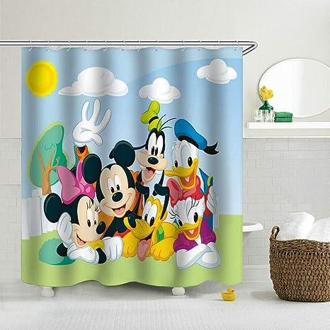 AOIWE Cortina de ducha divertida impermeable decorativa 180 x 180 cm dise/ño de gato y perro cortina de ba/ño con ganchos
