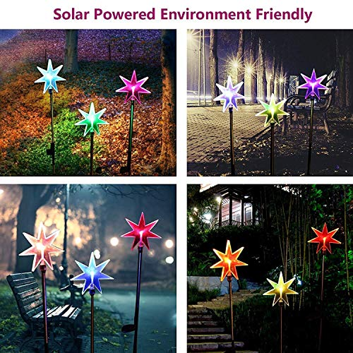 Star Solar Powered Stake Lawn LED Light Color Changing LEDs Outdoor Decoration Halloween Christmas Xmas Decor 3 Pack