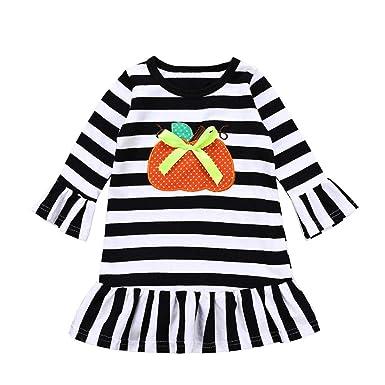 ... Vestido para niñas pequeñas Vestidos de Rayas Estampadas de Dibujos Animados de Calabaza Trajes de Halloween Ropa: Amazon.es: Ropa y accesorios