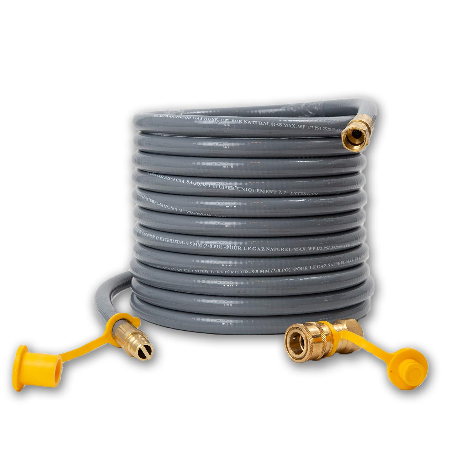 Houseables Propane Hose, Natural Gas Replacement, 3/8 Inch Outlet, 24 Feet, 50000 BTU/Hour, for Barbeque Grill, Conversion Kit, Quick Disconnect, Flexible Line, Home, Outdoor, Regulator, Fittings by Houseables