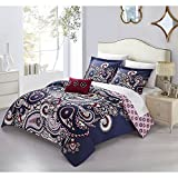 4pc Purple Pink Paisley Queen Size Duvet Cover Set, Polyester, Southwest Boho Chic Shabby Bright Damask Diamond Pattern Floral Flowers Oriental Embroidered, Microfiber