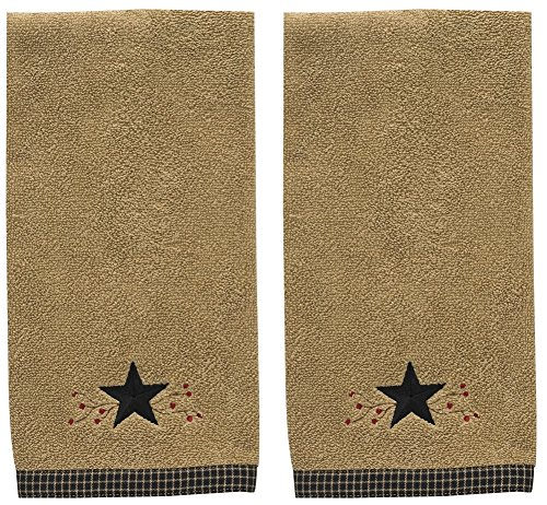 Park Designs Star Vine Terry Hand Towel Tan, Black - Set of 2