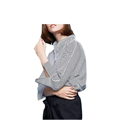 Qvyh Wave Embroidery Collar Half Sleeve Shirt Asymmetrical Striped Chiffon Blouses Royal Blue Stripe XS