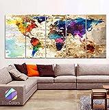 Original by BoxColors XLARGE 30''x 70'' 5 Panels 30''x14'' Ea Art Canvas Print Original Watercolor Texture Map Old brick Wall Full color decor Home interior (framed 1.5'' depth)