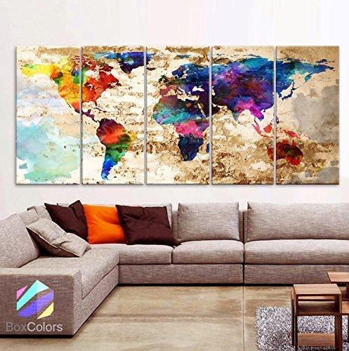 "Original by BoxColors XLARGE 30""x 70"" 5 Panels 30""x14"" Ea Art Canvas Print Original Watercolor Texture Map Old brick Wall Full color decor Home interior (framed 1.5"" depth)"