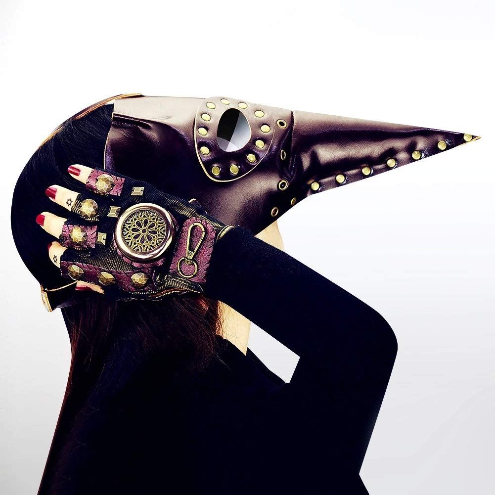 5 Plague Bird Doctor Mask, Goggles Gothic Mask, Steampunk Mask Masquerade, Halloween Props Christmas Gifts Handmade Leather (color   16)