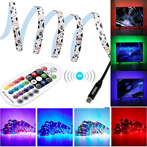1 Light 10' Wall (SPARKE LED TV Light 3Meter/9.9feet RGB Color Changing Bendable SMD3528 Strip Light USB Powered TV Backlight Kit with RF Remote Controller for 32-70 inches TV/Monitor)