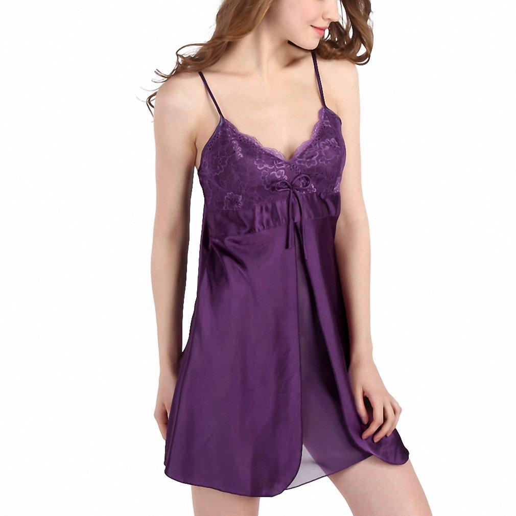 894b070cc14e Women s Lace Nightgowns Faux Silk Spaghetti Straps Pijamas Mujer Summer  Sleepwear Sleepshirts Women Sexy Underwear Purple L at Amazon Women s  Clothing store ...