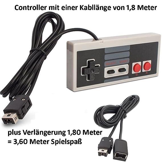2 Game Controller (DOPPELPACK) passend für Nintendo Classic Mini NES UND mit Verlängerungskabel Hersteller: amathings