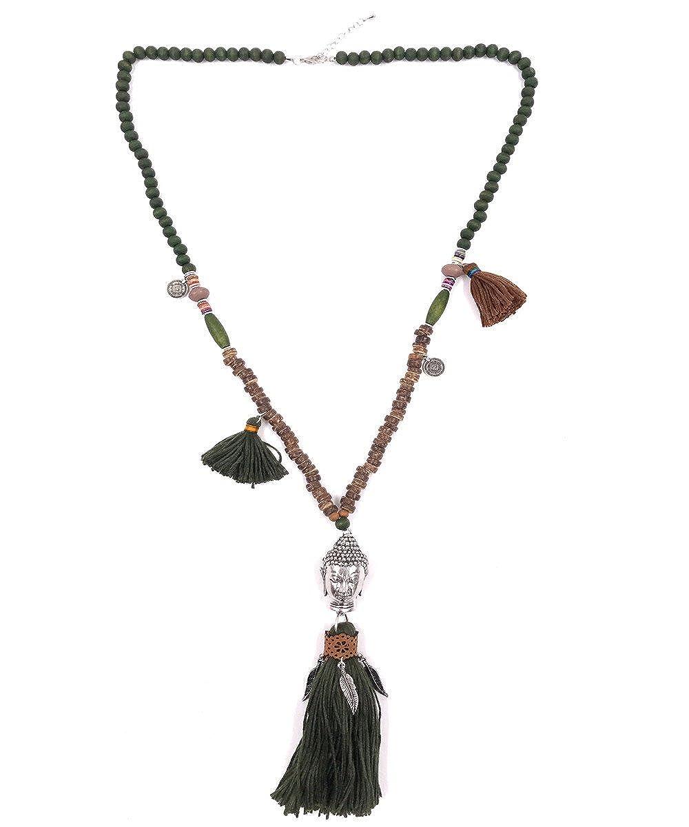 Bellissima bijoux- accessoire fantaisie-Collier long Sautoir pompon avec pendentif Bouddha 61COL05