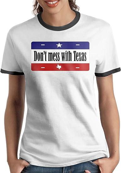 Queen Elena Dont-Mess-Texas, Playera de algodón de Color contrastante con Estampado de Manga Corta y Camisetas a la Moda Casual para Parejas Negro Negro (S: Amazon.es: Ropa y accesorios