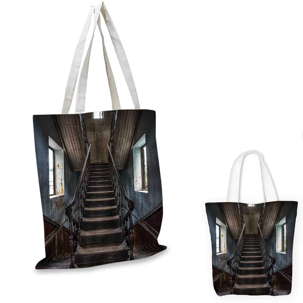 14x16-11 Scary Decor canvas messenger bag Horror Movie Classic Deserted Abandoned Home with Old Vintage Stairs Artwork canvas beach bag Multicolor
