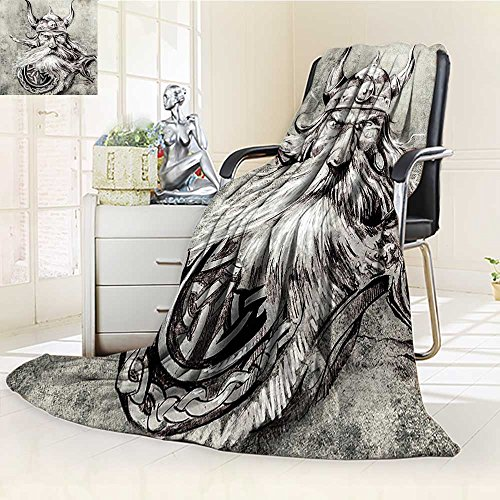 YOYI-HOME Luxury Double-Sides Reversible Fleece Duplex Printed Blanket Tattoo Artistic Pencil Drawing of a Brave Viking Warrior with his Armour Image Grey and White Travelling and Camping Blanket ()