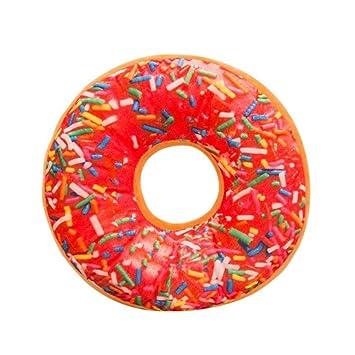 Almohada de felpa suave cojín de asiento relleno de alimentos dulces Donuts funda de cojín juguetes By LMMVP (40cm, L)