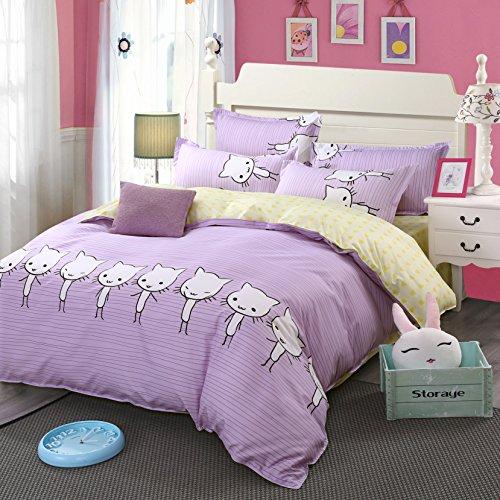 4pcs Children Beddingset Duvet Cover Set No Comforter Flat Sheet Pillow Case Twin Full Queen for Kids Beddingset Kitty Cat Design (Cute Cat,Pink, Full,70