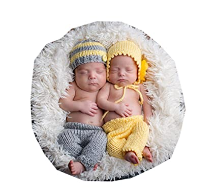 c462881bc Image Unavailable. Image not available for. Color: Pinbo Baby Twins Boys  Girls Photography Prop Crochet ...