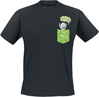 Camiseta Rick & Morty con Bolsillo Estampado Tiny Pocket - Negro