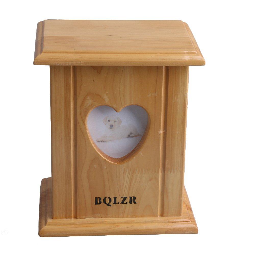 BQLZR 20.4x 17x 13cm en bois en bois de cèdre pour chien et chat Box cendres souvenir Urne funéraire avec cadre photo en forme de cœur BQLZRN28628