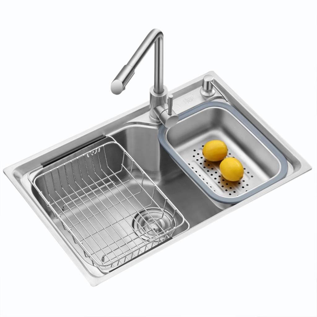 Bar Sinks Kitchen Household Sink Kitchen Stainless Steel Sink Wash Basin Restaurant Pool Dishwashing Pool Tableware Pool Kitchenware Sink Single Slot Triple Bowl (Color : Silver, Size : 58cm)