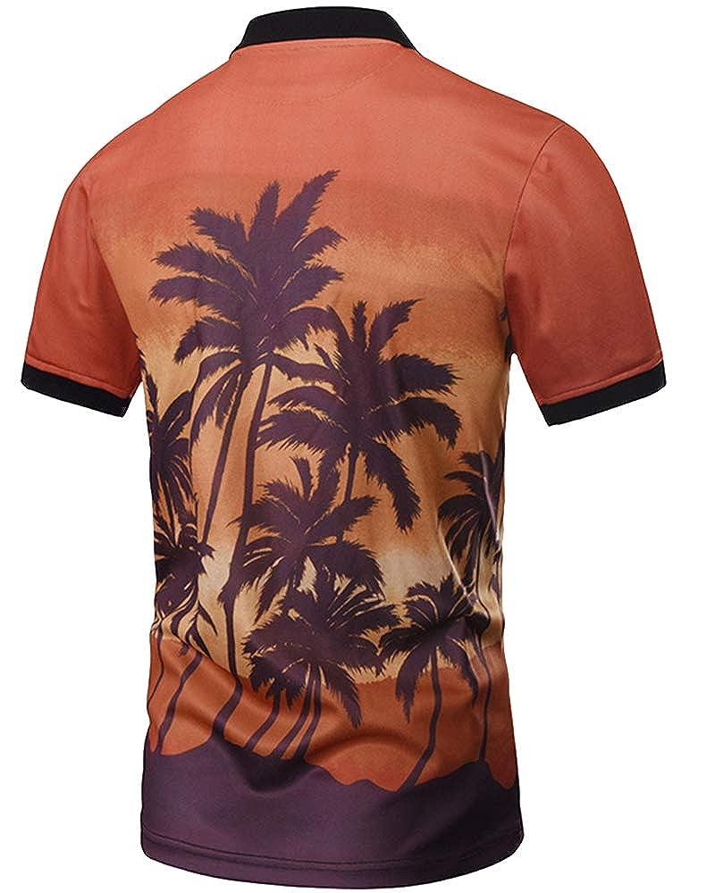 Summer Casual Lapel Tops Print Neck Pullover Blouse Men Short Sleeve Polo Shirt