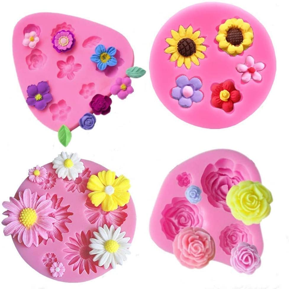 Flower Fondant Cake Molds-4 Pcs-Daisy Flower,Rose Flower,Chrysanthemum Flower and Small Flower,Candy Silicone Molds Set for Chocolate,Fondant,Polymer Clay,Soap,Crafting Projects & Cake Decoration