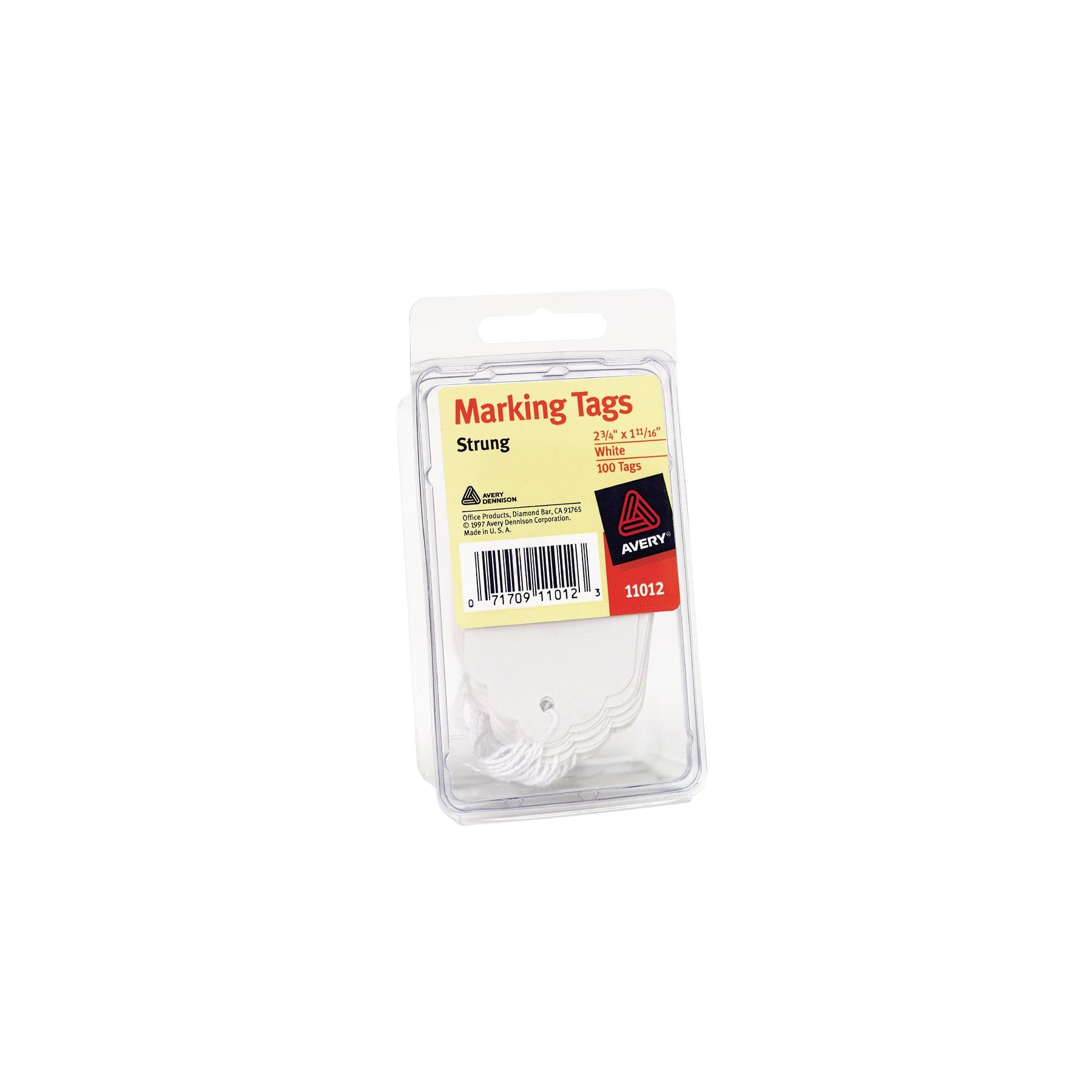 Avery Marking Tags, Strung, 2.75 x 1.68 Inches, White, Pack of 100 (11012)