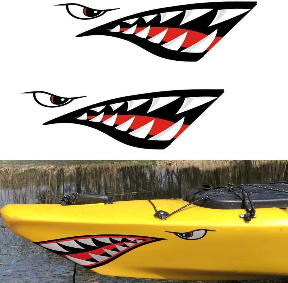 2 Pieces Kayak Stickers Shark Teeth Mouth Decals Waterproof for Fishing Boat Canoe Car Truck Kayak Graphics Accessories