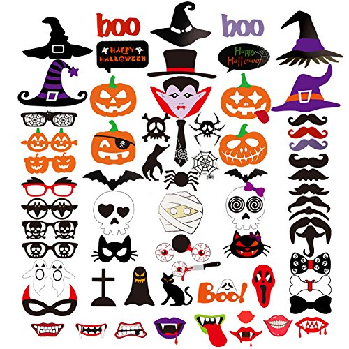 Halloween Photo Booth Prop 66Pcs on A Stick for Party Favor Supply Fancy Trick or Treat Decor DIY Kit -