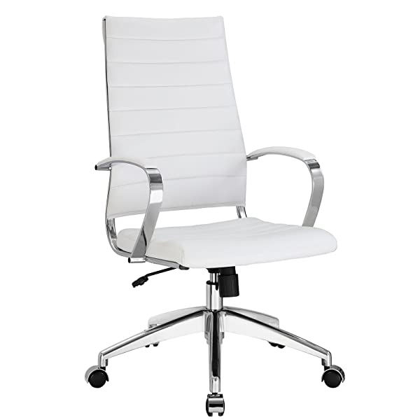 Modway Jive Ribbed High Back Executive Office Chair, White Vinyl