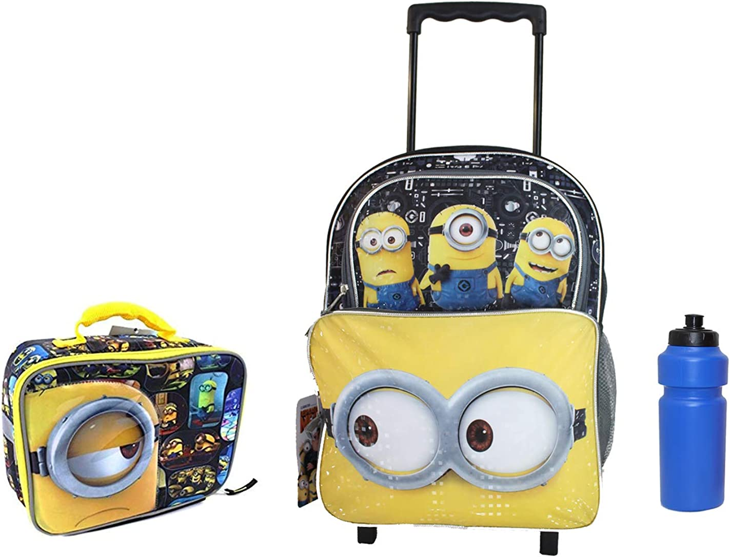 New Deluxe Despicable of Me, MINIONS Rolling Backpack w Lunch Case