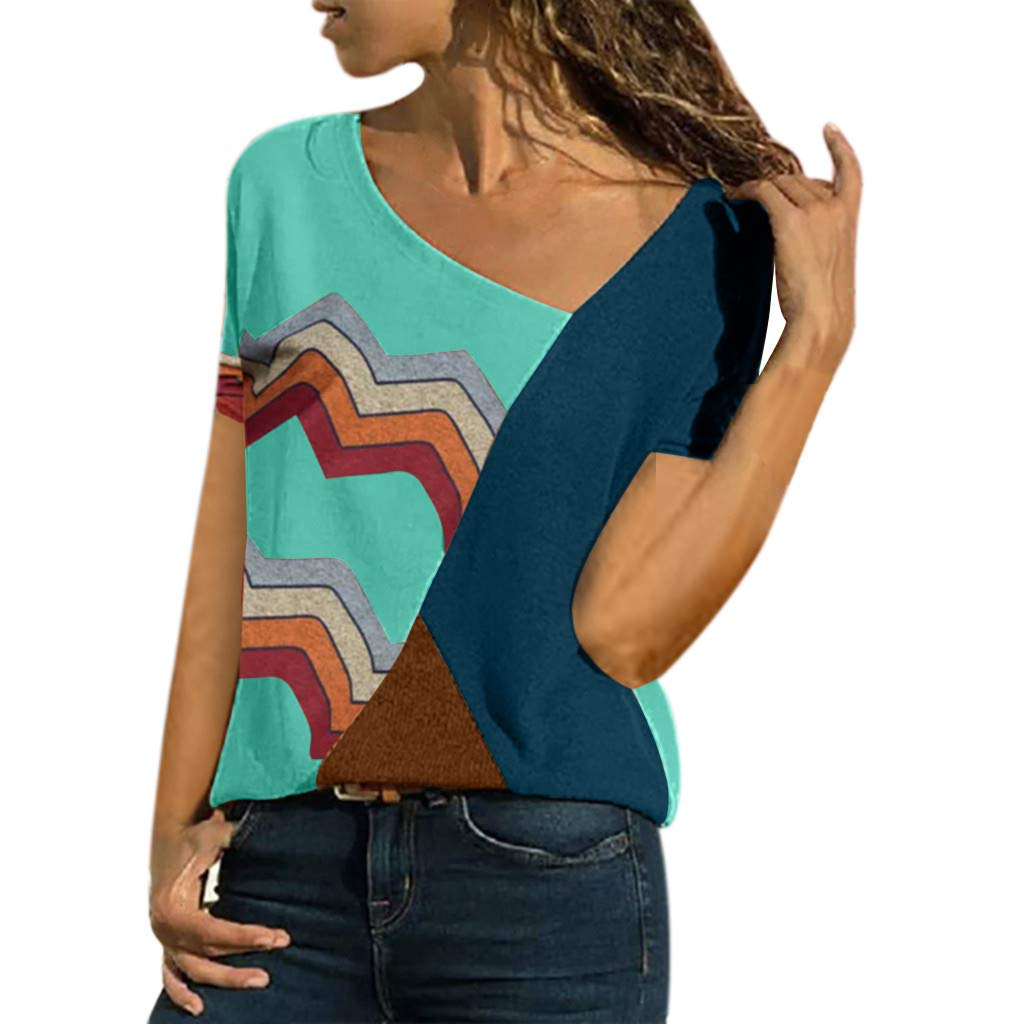 Blouses for Women Summer Asymmetric Neck Short Sleeve Shirts Geometric Stripe Casual T-Shirt Tops (L, Green)