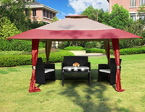 Cloud Mountain 13' x 13' Outdoor Patio Easy Pop-Up Double Roof Gazebo Canopy Tent, Water Resistance UV Protected Vented Gazobo for Party Event, Burgundy Tan