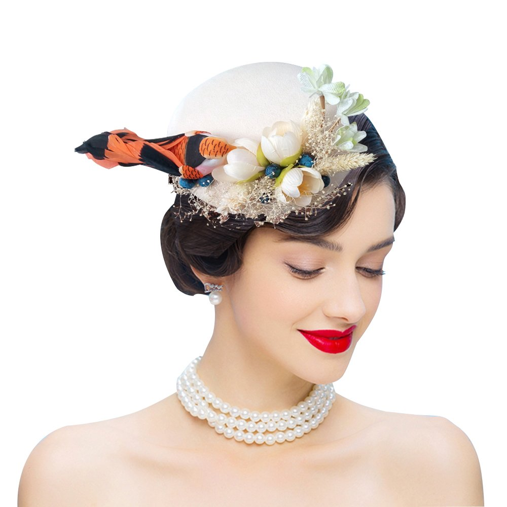 Vintage Inspired Wedding Accessories Edith qi Feather Fascinators Bird Wool Felt Sinamay Hats With Hair Clip Tea Party Derby $19.99 AT vintagedancer.com