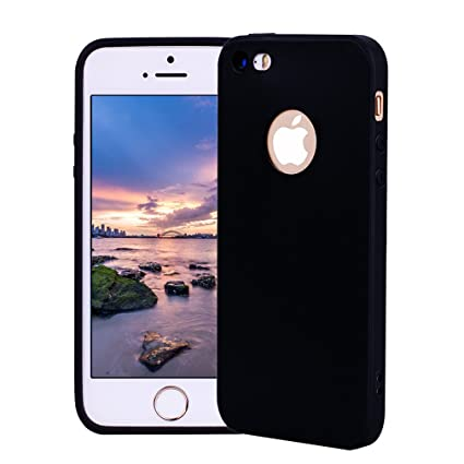 Funda iPhone 5, Carcasa iPhone 5S Silicona Gel, OUJD Mate Case Ultra Delgado TPU Goma Flexible Cover para iPhone 5/SE - Negro
