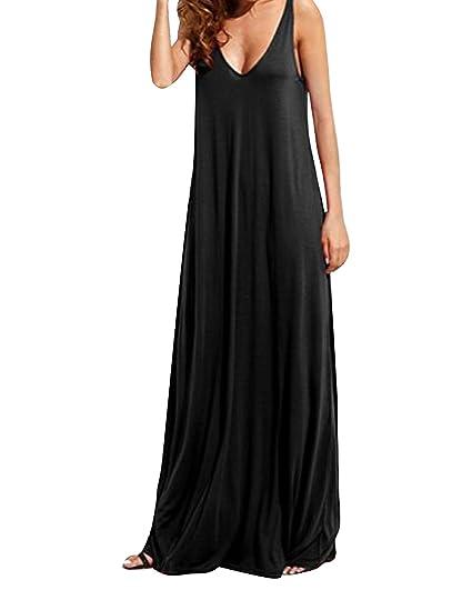 5766be35d4e Kidsform Robe Longue Femme Uni Decontractée Sans Manche Col V Dos Nu Robe de  Plage Noir