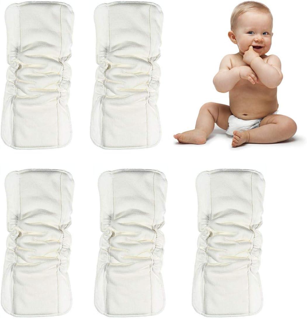 5-TLG waschbare lesgos Windeleinlagen saugstarke 5-lagige Holzkohle-Bambus-Stoffwindeleinlagen auslaufsichere Windeleinlage aus weicher Mikrofaser mit Zwickeln f/ür Babys und Kleinkinder