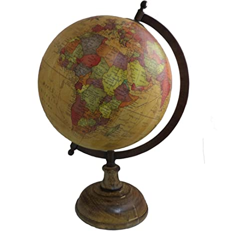 Antique Earth Globe Home Decor Table Geography Ocean Metal Stand Big  Rotating Globe