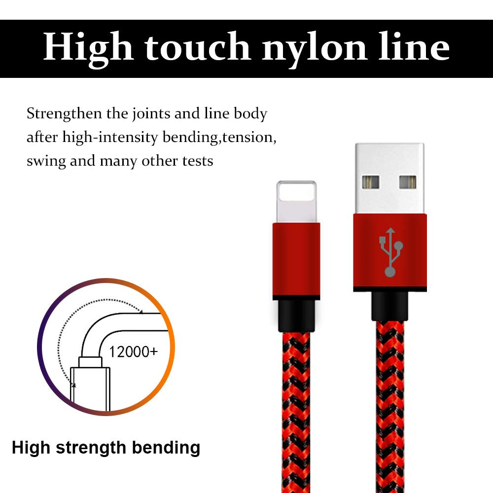 Red/&Black iPhone Charger MFi Certified Lightning Cable,5Pack Extra Long Nylon Braided USB Fast Charging/&Syncing Cord Compatible with iPhone Xs MAX//XR//X//8 Plus//7 Plus//6 Plus//6 3FT 3FT 6FT 6FT 10FT