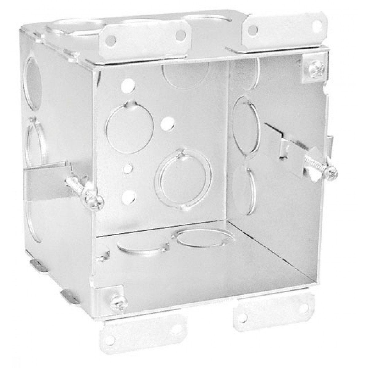 1 Pc, 4'' Square Junction Box, for Cut In Old Work, 4 In. Deep, (6) 1/2 In & (6) 1/2-3/4 In. Side Knockouts; (2) 1/2 & (2) 3/4 In. Bottom Knockouts, Zinc Plated Steel
