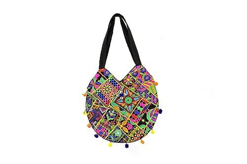 38 cms X 2.5 cms X 38 cms Embroidered Handbag Round Indian Style Handmade  Hippie Tote Bags For Women (Black)  Handbags  Amazon.com