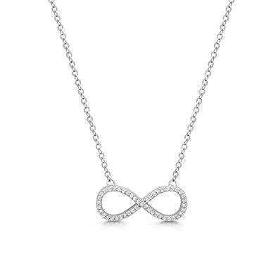 "83e52c68e0 DTLA Sterling Silver Cubic Zirconia Infinity Necklace - - 18"" ..."