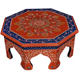 Lal Haveli Ethnic Hand Painted Work Design Decorative Round Pooja Chowki 15 X 15 X 6 Inches
