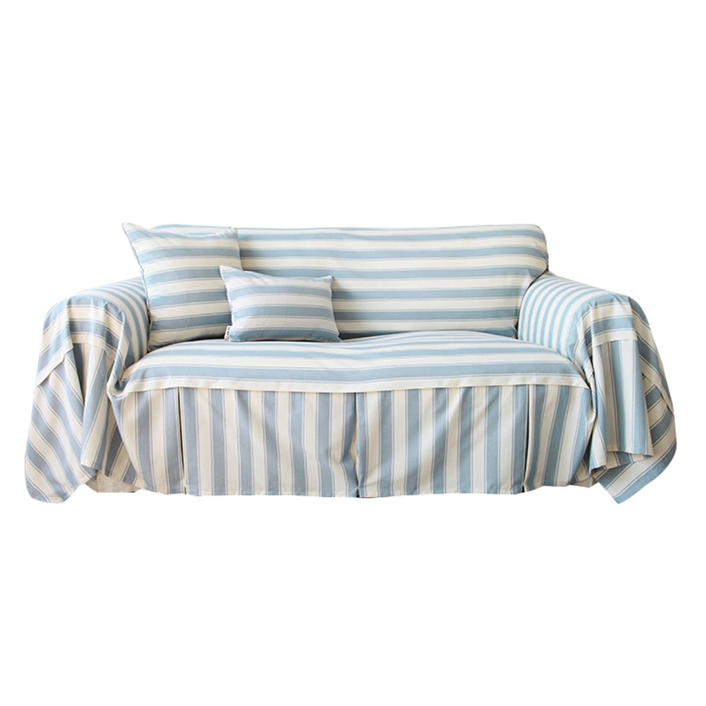 Sofa Cover Blue Stripe Thicken Cloth Gab Soft Easy Storage Full Cover Modern Simple Light And Elegant (Size : 300cm180cm)
