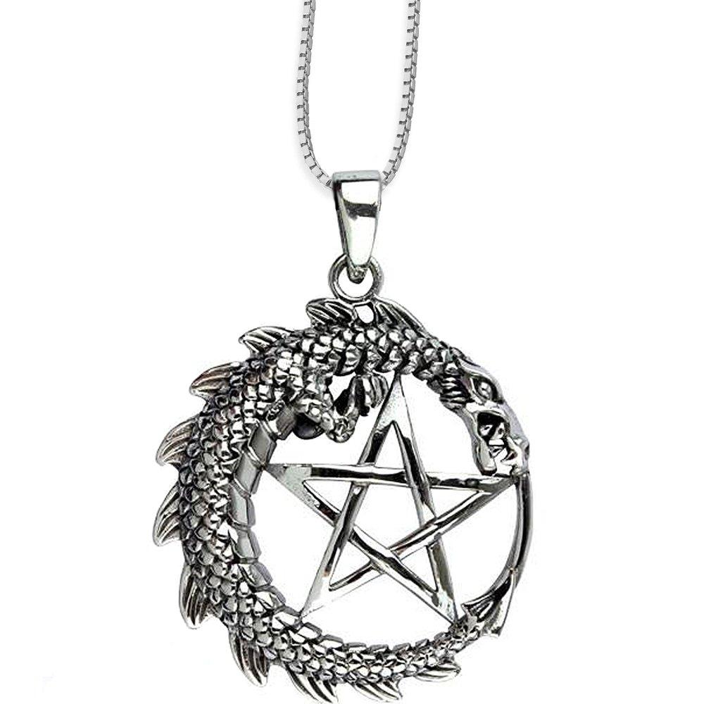Anhänger Drachen Pentagramm Keltischer 925er Silber Schmuck - Schutz - mit Kette Halskette Silberkette 1010 DarkDragon 6615547878354-1010