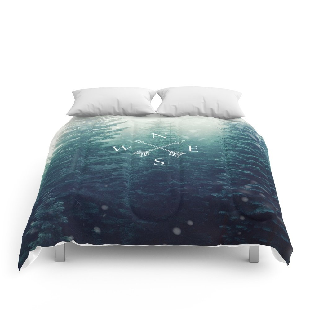 Society6 Arrow Compass In The Winter Woods Comforters Full: 79'' x 79''