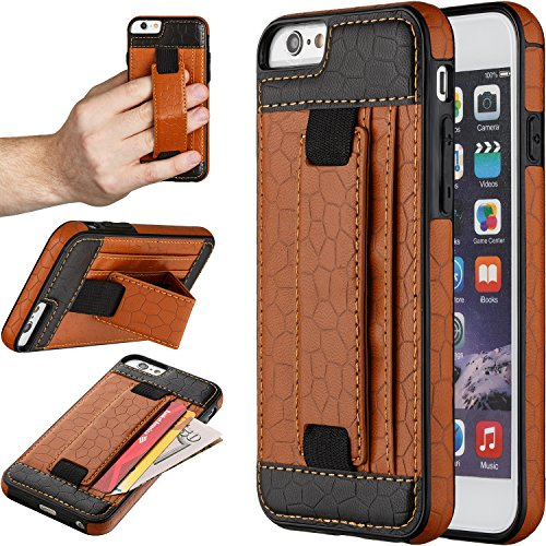 "iPhone 6S Case, Moona Wallet Case for iPhone 6S with KickStand ""1 Year Warranty"" Apple iPhone 6S Wallet Case, iPhone 6S PU Leather Case, iPhone 6S Thin Case, Grip Case for iPhone 6 (Tan/Black)"