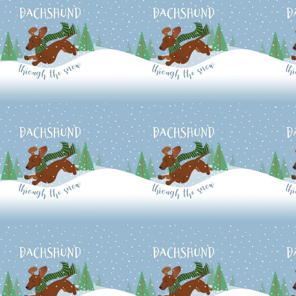 GRAPHICS & MORE Dachshund Dashing Through The Snow Winter Christmas Premium Roll Gift Wrap Wrapping Paper
