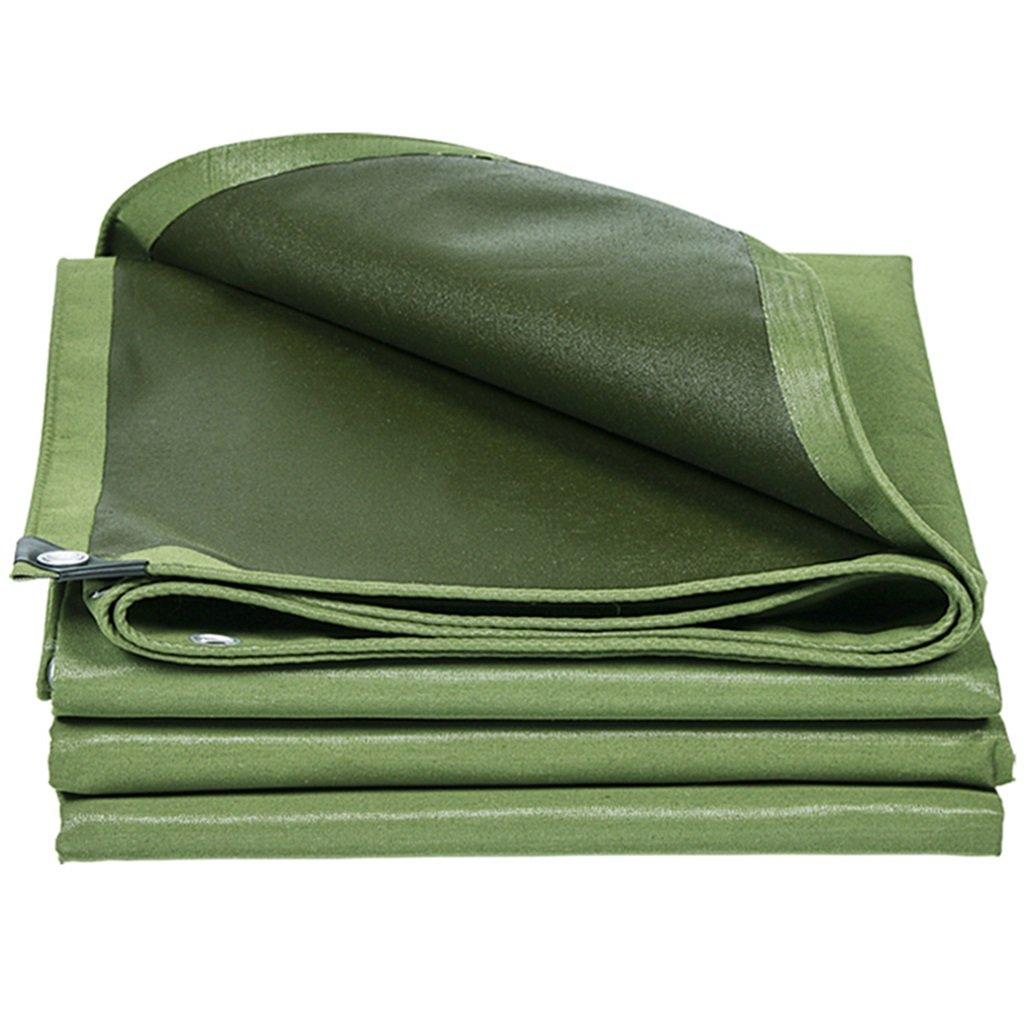 厚手の耐摩耗防水キャンバス、防雨布日焼け止めターポリン、サンシェードトラック車のターポリン、天幕布、マルチサイズ、650G /M² (色 : Green, サイズ さいず : 2x5m) 2x5m Green B07HRM4Z1S