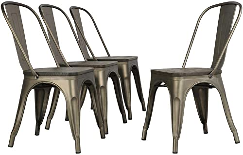 Topeakmart Metal Dining Chair Outdoor Dining Set Stackable Wood Chair
